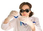 Crazy chemist woman (focus on face) — Stockfoto