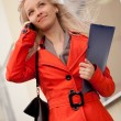 Businesswoman calling by phone — Stock Photo
