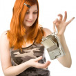 Girl with broken hard drive - Stock Photo