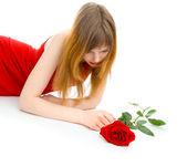 žena s růží — Stock fotografie