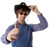 Brunette haired man in cowboy hat — Stock Photo
