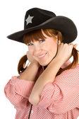 カウボーイ ハットで赤い髪の少女 — ストック写真