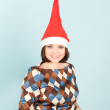Funny woman in cap smiling — Stock Photo