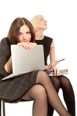 Two women sitting on the chair — Stock Photo