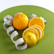 Picture of  oranges and tape measure — Stock Photo