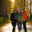 Three beautiful girls in the park — Stock Photo