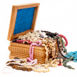 Wooden jewel box — Stock Photo