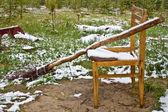 Escoba y silla en bosque — Foto de Stock