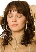 Curly-haired woman dreaming — Stock Photo