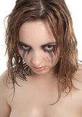 Wet woman looking to the camera anger — Stock Photo