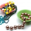 Make the choice between two plates with different beads — Stock Photo