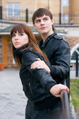 Couple of young (focus on woman) — Stock Photo