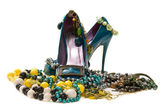 Woman's shoes with jewelry — Stock Photo