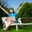 Foto Stock: Woman enjoying the sun