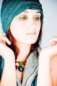 Eastern woman in headscarf — Stock Photo