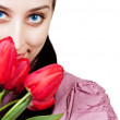 Womwith rad tulips bouquet — Stock Photo #10453454
