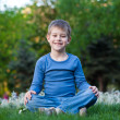 Happy little boy sitting on the grass — Stock Photo #10453473