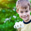 Happy boy with dandelions — Stock Photo #10522593