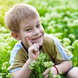 Funny boy in the green grass — Stock Photo #10522613