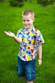 Cute kid shows his hand — Stock Photo