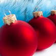 Three red Christmas tree balls — Photo