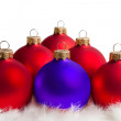 Red and blue Christmas tree balls - Stock Photo