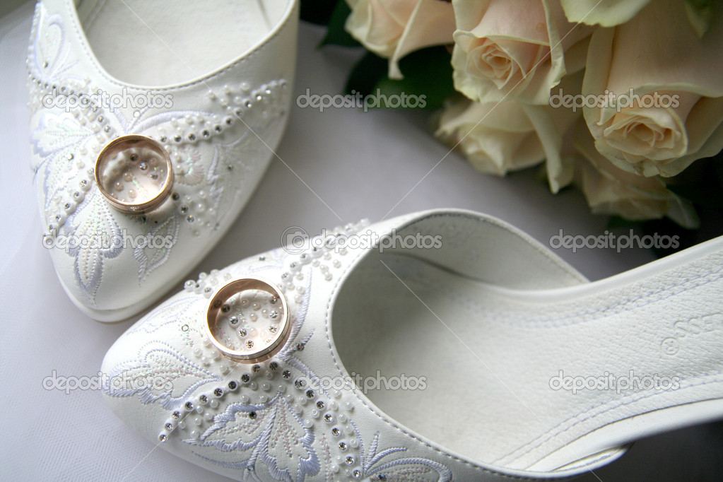 Wedding Rings and white shoes  Stock Photo #8003232