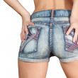 Woman body in blue jean shorts — Stock Photo