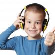 Young boy in headphones — Stock Photo