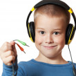 Young boy in headphones — Stock Photo