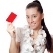 Beautiful girl holding a card — Stock Photo