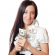 Beautiful girl holding dollars — Stock Photo