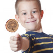 Boy with candy on stick — Stock Photo #8678673
