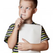 Stock Photo: Smiling boy holding paper blank