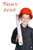 Little boy with drawing and in hard hat — Stock Photo
