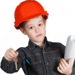 Adorable future architect over a white background — Stock Photo