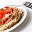 Spaghetti on the white plate - 