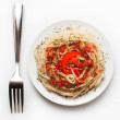 Spaghetti on the white plate - Stockfoto