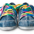 Bright colorful sneakers isolated on white — Stock Photo