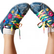 Stock Photo: Bright colorful sneakers isolated on white