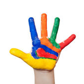 Painted colorful hand — Stock Photo