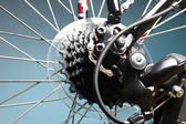 Bakre cykel kassett på ratten med kedja — Stockfoto
