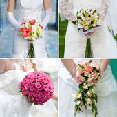 Bridal bouquet in the bride's hands — Stock Photo