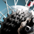 Rear bike cassette on the wheel with chain — Stock Photo #9701998
