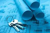 Scrolls of technology blueprint — Stock Photo