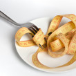 Measuring tape on a plate with fork — Stock Photo
