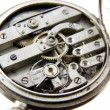 Old silver pocket watch mechanism — Stock Photo
