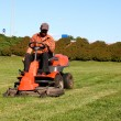 Mature man driving grass cutter — Stock Photo
