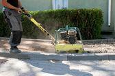 Brick paver build new sidewalk — Stock Photo
