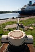 Amarração e navio — Foto Stock